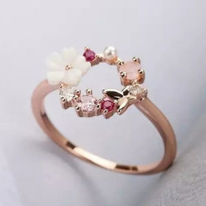 Jewelry - Rose Gold Flower & Butterfly Circle Halo Ring